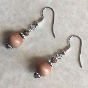 Wood Beaded Earrings Silver Tone Dangle Bronze Ton